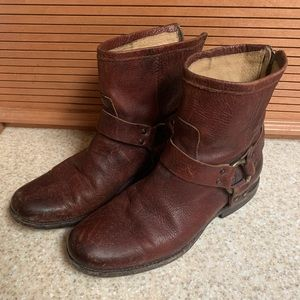 Frye brown leather short boots w/ harness detail